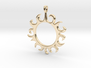 Tribal Sun Design Jewelry Symbol Pendant in 14k Gold Plated Brass