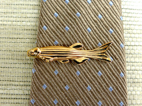 Zebrafish Tie Bar - Science Jewelry in Polished Bronze