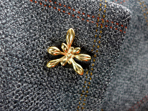 Arabidopsis Lapel Pin -Science Jewelry in Polished Bronze