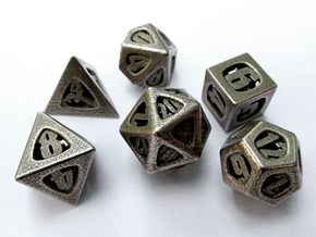 Thoroughly Modern Dice Set in Polished Bronzed Silver Steel