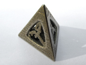 Thoroughly Modern d4 in Polished Bronzed Silver Steel