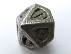 Thoroughly Modern d10 in Polished Bronzed Silver Steel