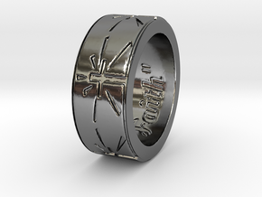 """Faith"" Ring  in Fine Detail Polished Silver: 6 / 51.5"