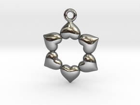 Round Dance Of Hearts in Fine Detail Polished Silver