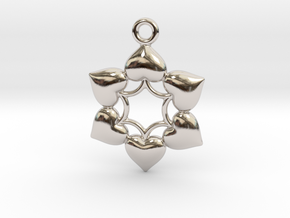 Round Dance Of Hearts  2 in Rhodium Plated Brass