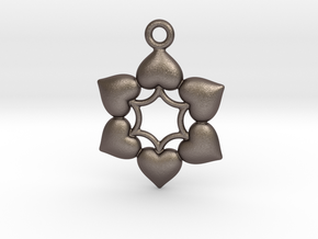Round Dance Of Hearts  2 in Polished Bronzed Silver Steel