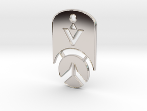 Overwatch Dog Tag *beveled edges* (Necklace) in Rhodium Plated Brass
