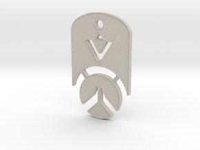 Overwatch Dog Tag *beveled edges* (Necklace) in Natural Sandstone