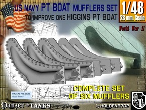 1-48 PT Higgins Muffler Set in Smooth Fine Detail Plastic