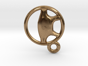 Steering Wheel Keychain Charm in Natural Brass