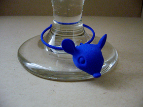 Mouse Wine Glass Charm in Blue Strong & Flexible Polished