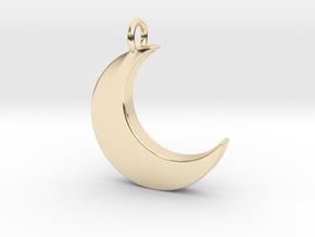 Crescent Moon Pendant in 14k Gold Plated Brass