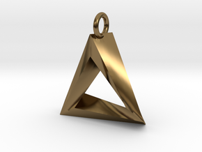 Penrose Triangle Pendant in Polished Bronze