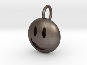 Smiley Dime Sized Emoji in Polished Bronzed Silver Steel