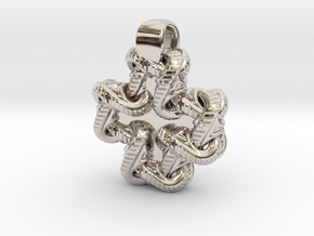 S Chain Small Cross in Rhodium Plated Brass