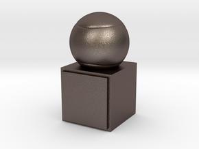 Tennis Trophy in Polished Bronzed Silver Steel