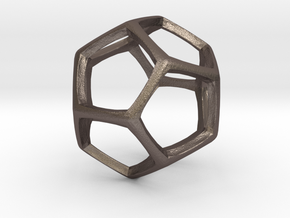 Dodecahedron 6cm tall in Stainless Steel