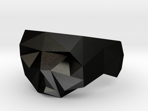 Small Low-poly Skull Ring Size 7 in Matte Black Steel