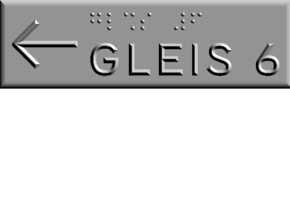 GLEIS 6 mit Pfeil nach links in Polished Metallic Plastic