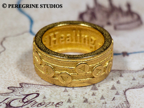 Ring - Song of Healing in Polished Bronzed Silver Steel: 13 / 69