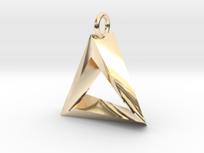 Penrose Triangle Pendant in 14K Yellow Gold