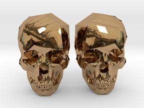 Cufflink Skull in Polished Brass