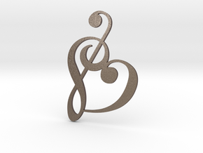 Heart Clef Pendant in Polished Bronzed Silver Steel