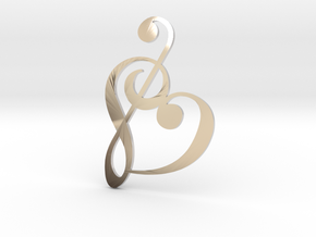 Heart Clef Pendant in Rhodium Plated Brass