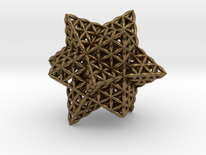 Stellated Flower of Life Vector Equilibrium in Natural Bronze