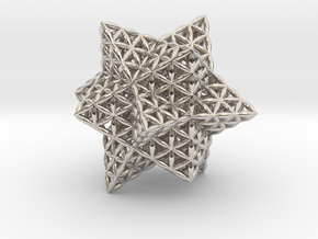 Stellated Flower of Life Vector Equilibrium in Rhodium Plated Brass