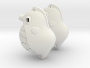Sea Horse Earrings in White Natural Versatile Plastic