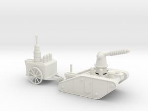15mm AQMF EDISON / TESLA LIGHTNING TANK MK 1A in White Natural Versatile Plastic