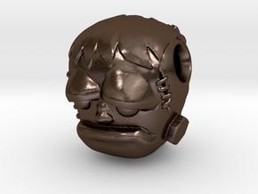 Reversible Frankenstein head pendant in Polished Bronze Steel