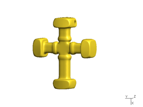 Cross, type A - small in Polished Gold Steel