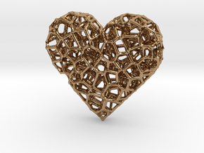 Voronoi Heart pendant (version 2) in Polished Brass