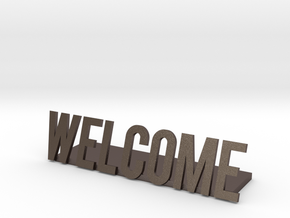 Welcome logo desk business in Polished Bronzed Silver Steel