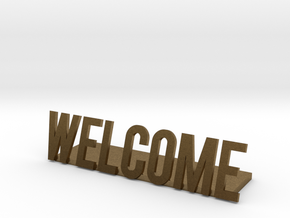 Welcome logo desk business in Natural Bronze