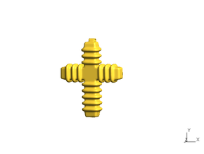 Cross, type C - small in Polished Gold Steel