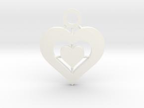 Heart Pendant in White Processed Versatile Plastic