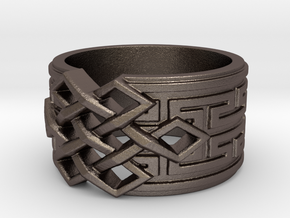 Endless Knot Ring (Multiple Sizes) in Polished Bronzed Silver Steel
