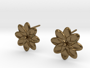 Floral Stud Earrings in Natural Bronze