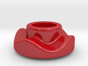 DRAW lamp - oil lamp holder base round and wavy in Gloss Red Porcelain