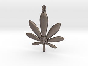 Cannabis Leaf Pendant in Polished Bronzed Silver Steel