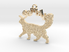 Somali Cat Breed Pendant in 14k Gold Plated Brass