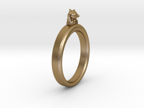 0.736 inch/18.69 mm Cat Ring in Polished Gold Steel