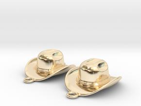 Cowboy Hat Earrings in 14k Gold Plated Brass