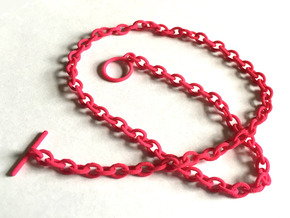 Basic Oval Chain - 16in in Pink Processed Versatile Plastic
