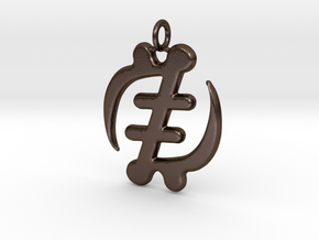 Gye Nyame Pendant (wearable steel) in Polished Bronze Steel