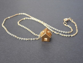 Tiny House Pendant in 18k Gold Plated Brass