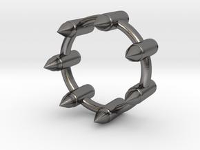 BULLET RING in Polished Nickel Steel